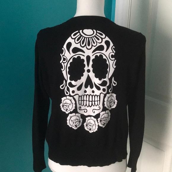 8d8424531 Teenage Runaway Sweaters | Sugar Skull Cardigan Xl Black | Poshmark